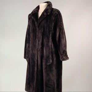 Sheared beaver fur long coat